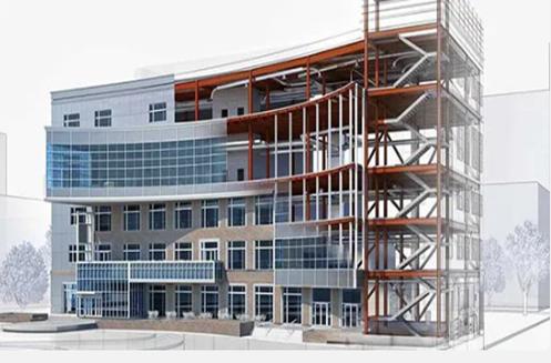 Bild på en kommersiell byggnad under uppförande. Med 3D-laserskanning kan vi säkerställa korrekta ytor och andra attribut.