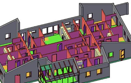 Bilden visar en 3D-illustration av ett våningsplan. Exempel på vad man kan göra med 3D-laserskanning.